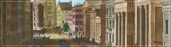Wall Street, NYC, circa 1845
